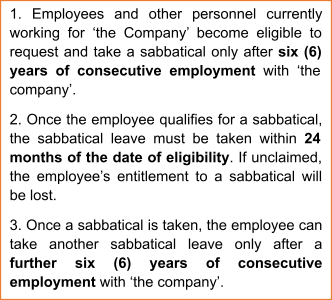 Eligiblity Clause for Sabbaticals