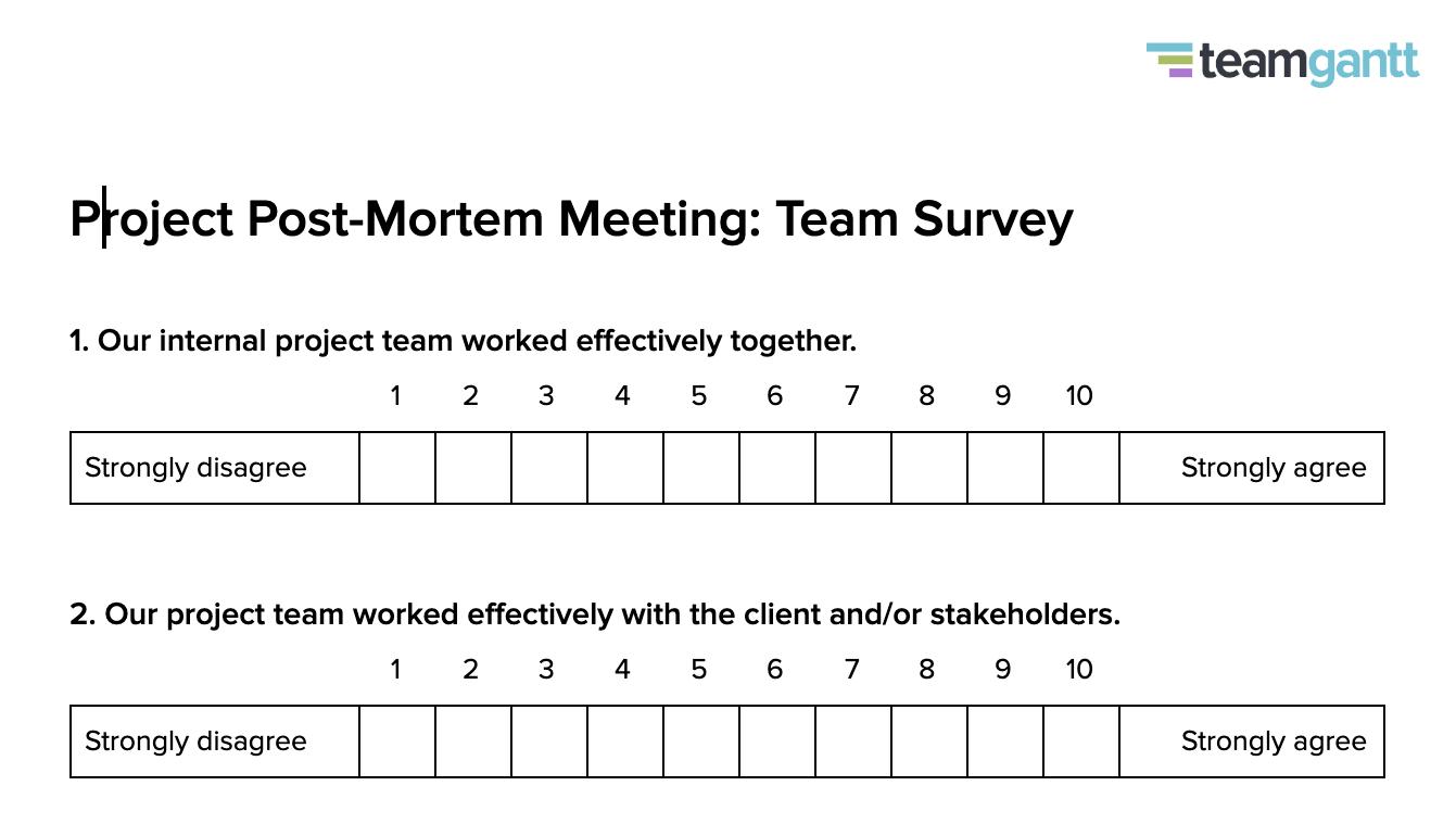 Post Mortem Meetings Team Survey